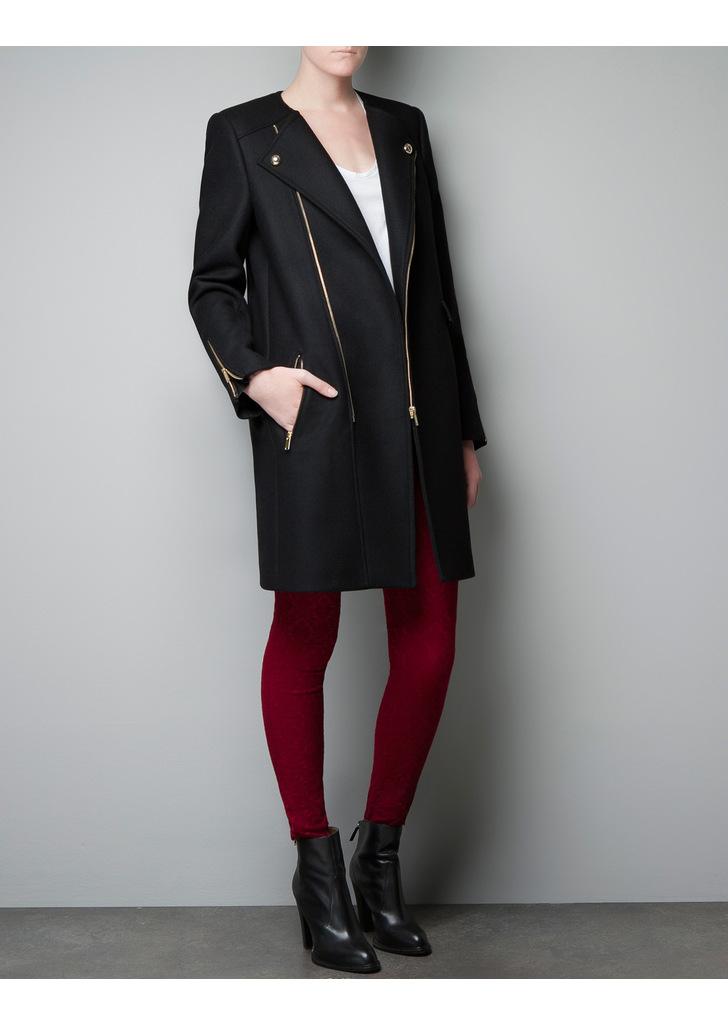 Zara fekete cipzár díszes kabát ... 51156c0000
