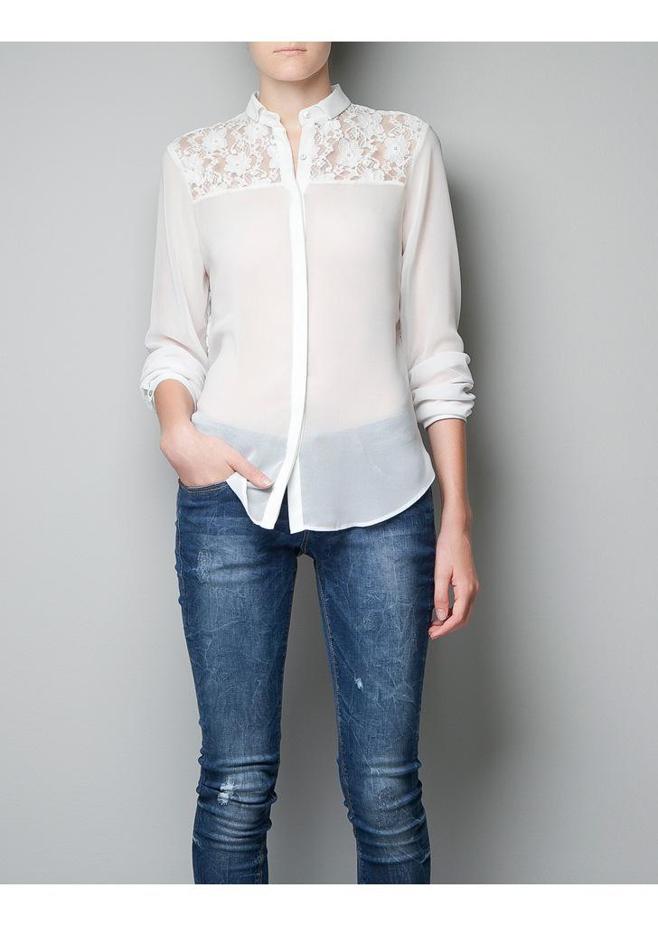 3ae2bd229f Zara csipke betétes fehér blúz, 9 995 Ft