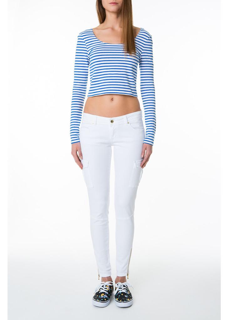 467602ea7e ... Tally Weijl kék & fehér csíkos rövid póló ...