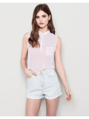 Pull and Bear ujjatlan kockás blúz