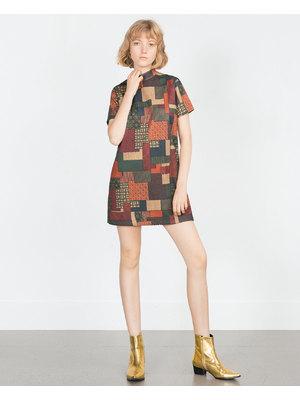 Zara szép női mintás magas nyakú ruha 0231c9e26e
