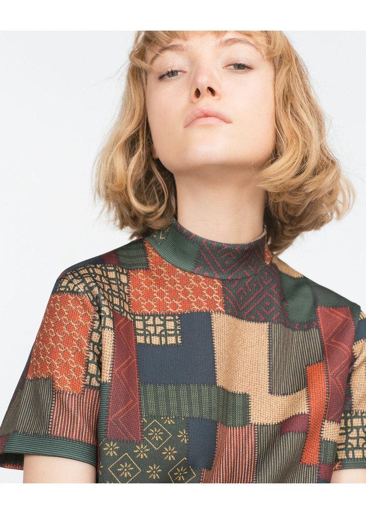 ... Zara szép női mintás magas nyakú ruha ... d76d7e8ea8