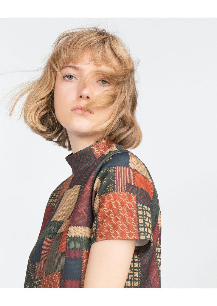 ... Zara szép női mintás magas nyakú ruha e621f9bcd9