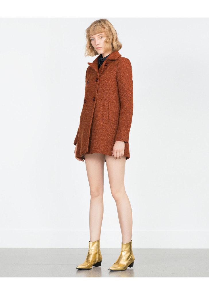 Zara konyak színű női buklé kabát ... f0e7bdc1ff