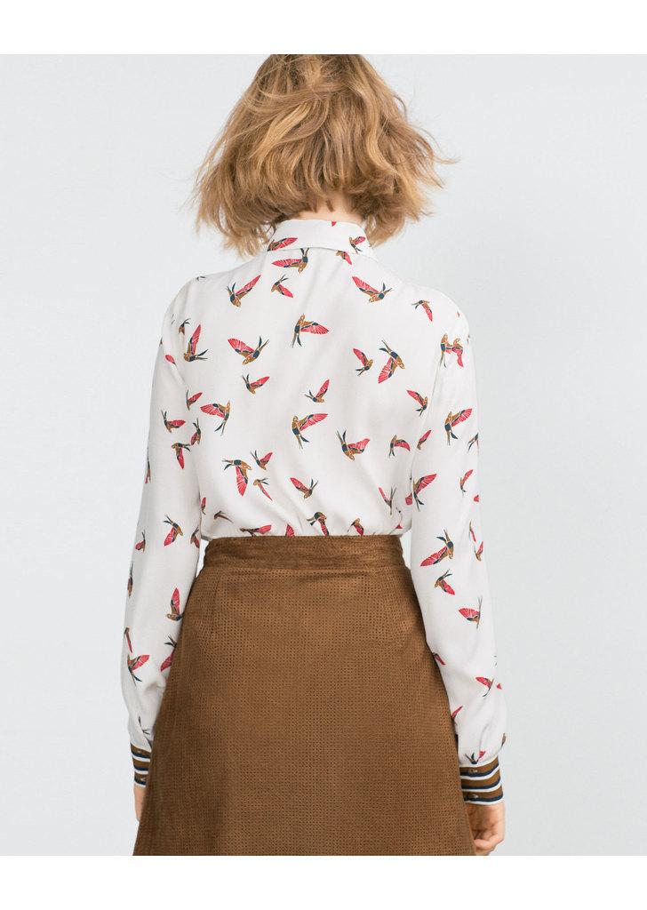 ... Zara madármintás női ing ... f09eee1328