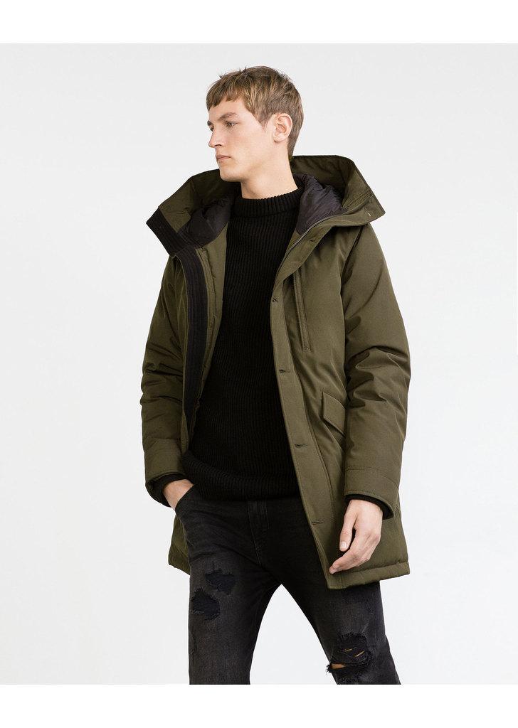 aa75ceac5e Zara khaki háromnegyedes férfi télikabát, 37 995 Ft   2015