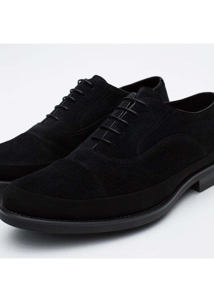 ... Zara hasított bőr fekete oxford cipő ... 308cdb26dd