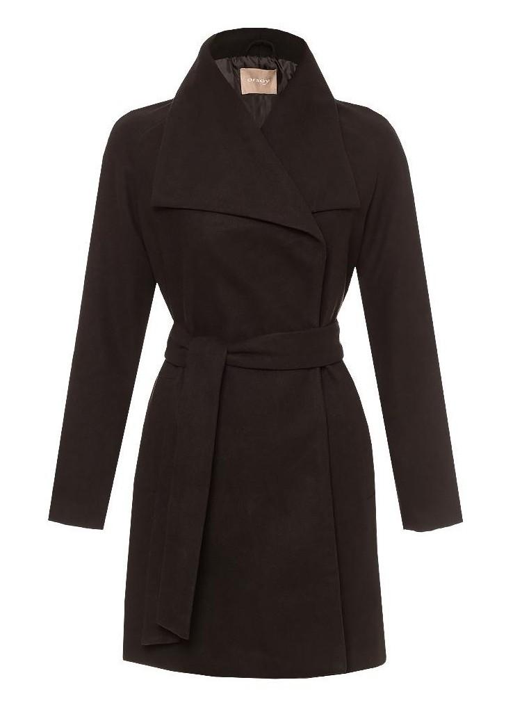 ... Orsay hosszú fekete női tépőzáras kabát övvel ... 5e34433180