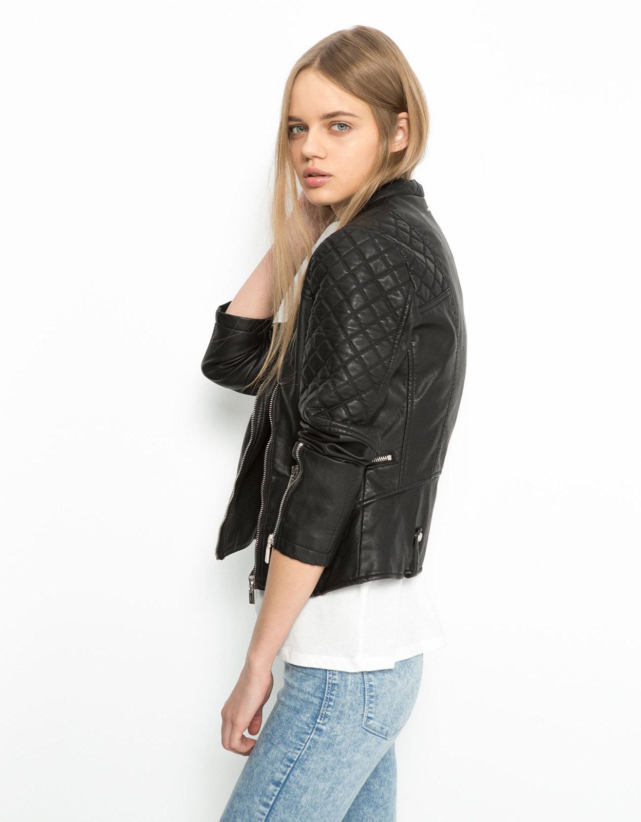 Bershka női fekete steppelt műbőr dzseki kép 599813c222