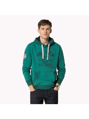 0321d8cb1b Tommy Hilfiger férfi zöld kapucnis meleg márkalogós kapucnis pulóver,