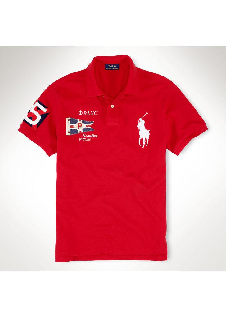 4aa8ddef08 Ralph Lauren férfi piros hímzett hajós T-shirt, 125$ | 2015