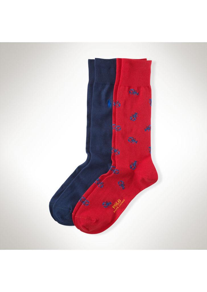 5a2e1a6187 Ralph Lauren homár mintás kék-piros zokni szett, 18$