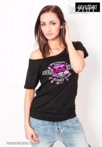 d6c96a21ed Eredeti Devergo Jeans vállra húzható női top felső fekete szürke csillogó  felirattal S << lejárt 787529