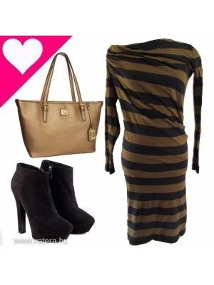 S NOB szuper csajos karcsúsított arany-fekete csíkos hosszú ujjú rugalmas  női ruha 0a2be06f43