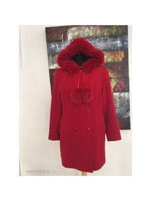 A Incze elegáns és extravagáns piros női gyapjú téli kabát róka prémmel  kapucnival 42   44 733e2641d6