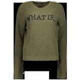 New Yorker női WHAT IF feliratos katonai zöld pulóver 02d7399997