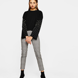Bershka Knitted sweater with pearls