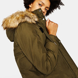 Bershka Parka with fleece hood
