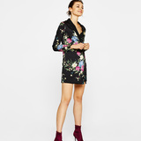 Bershka Blazer-type dress with floral print
