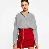 Bershka Imitation suede skirt with frill