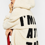 Bershka Fleece coat with message