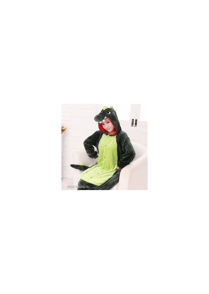 Zöld Dínó Dinoszaurusz Overál Jelmez Pizsama Egybepizsama Felnőtteknek 74dbcf047c