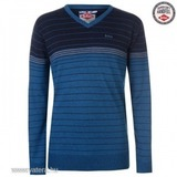 Lee Cooper Striped V nyakú Jumper Mens XL