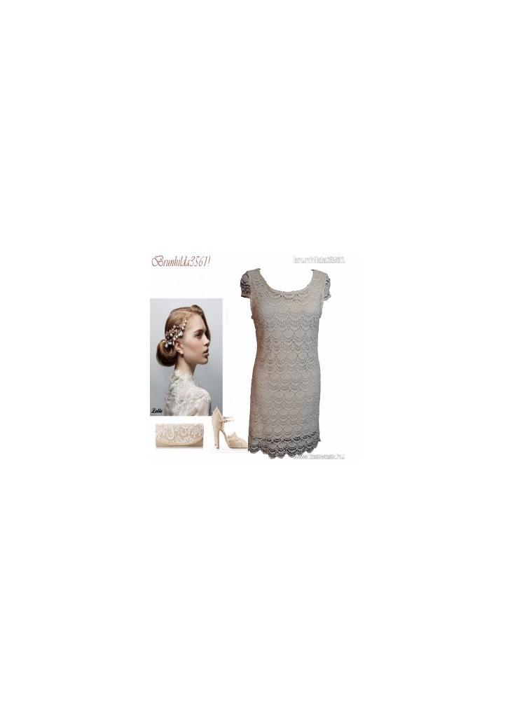 562a28f0b1 Gyönyörű krém dupla rétegű horgolt csipke ruha, 40- es ,1Ft - Vatera,