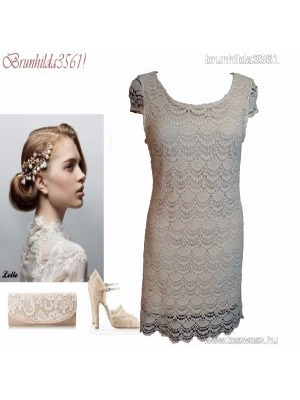 0b7f6e07e3 Gyönyörű krém dupla rétegű horgolt csipke ruha, 40- es ,1Ft << lejárt