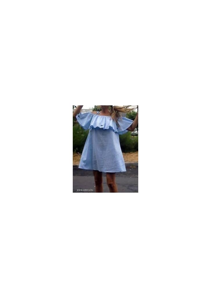 13f224c684 MOHITO fodros vállú VIRÁGOKKAL HÍMZETT gyönyörű kék megkötős ruha 38 M