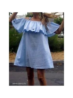15b07eff8c MOHITO fodros vállú VIRÁGOKKAL HÍMZETT gyönyörű kék megkötős ruha 38 M <<  lejárt 617591