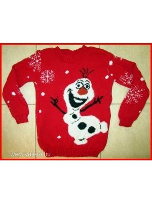 be4fbd34a0 Jégvarázs: Olaf-os mintás, téli, meleg, piros kötött pulóver-1 Ft!