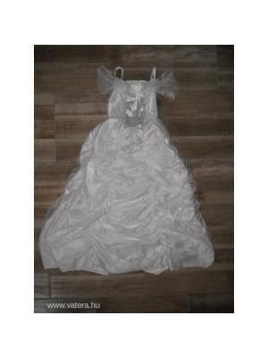 ba4fa35036 Gyönyörű fehér, ezüst mintás felsős, húzott tüll szoknyás hosszú lány  jelmez 7-8