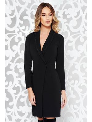4841daf47f Fekete PrettyGirl elegáns zakó tipusú ruha enyhén elasztikus pamut  karcsusított szabás gyöngyös díszítés << lejárt