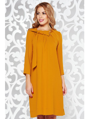 ce25cde364 Mustar LaDonna elegáns bő szabású ruha rugalmatlan szövet háromnegyedes  ujjú << lejárt 977230