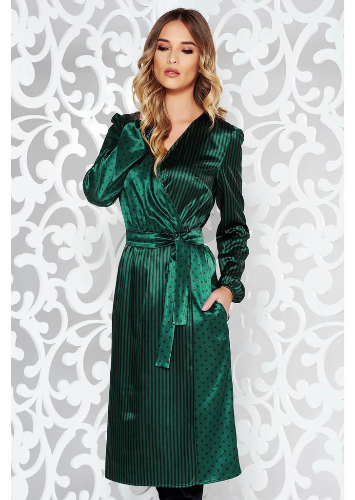 Zöld StarShinerS ruha elegáns midi szatén anyagból övvel ellátva 8b533fb67e