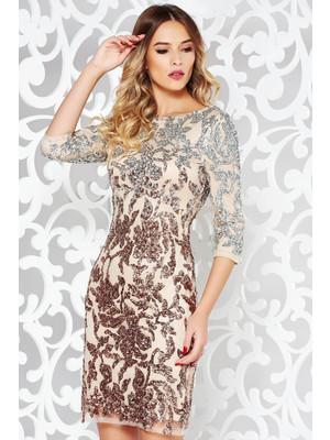 Rózsaszínű StarShinerS alkalmi ruha csipkés anyag flitteres díszítés belső  béléssel háromnegyedes ujjakkal 30265659a8