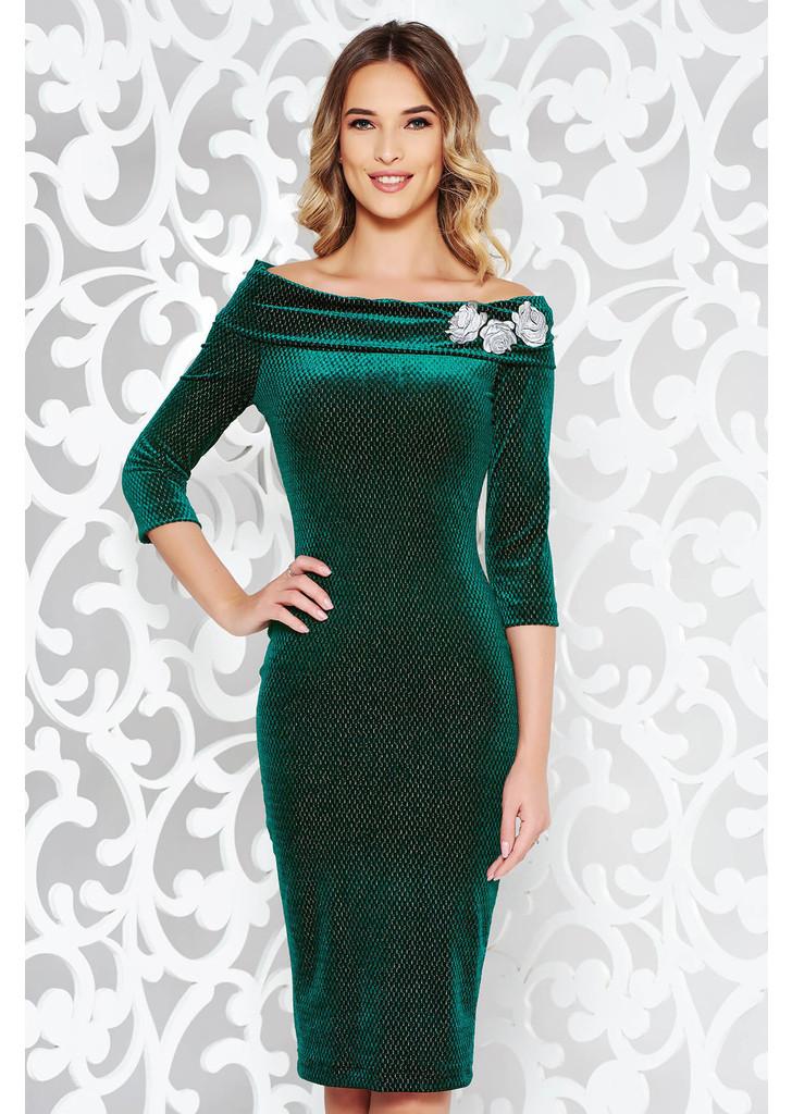 03f5d86099 Zöld StarShinerS ruha alkalmi ceruza hímzett bársony váll nélküli lamé