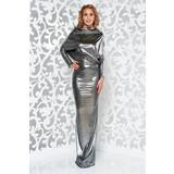 1900e3d62d Ezüst alkalmi hosszú szirén tipusú ruha fényes anyag hátul kivágott <<  lejárt 422595