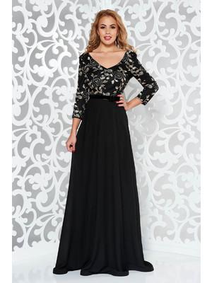 Fekete StarShinerS hímzett alkalmi ruha fátyol anyag belső béléssel tűl  kiegészítővel f3909bf906