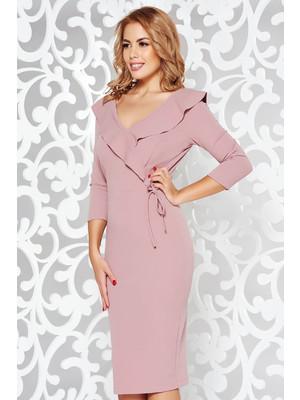81143cc6c3 Rózsaszínű StarShinerS elegáns ceruza ruha rugalmas anyag v-dekoltázzsal