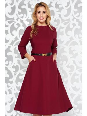 421728374e Burgundy irodai harang ruha enyhén elasztikus pamut zsebes öv típusú  kiegészítővel