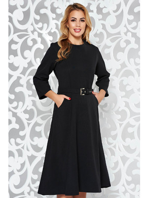 afe29a3876 Fekete ruha elegáns midi harang enyhén rugalmas szövet zsebes öv típusú  kiegészítővel << lejárt 966230