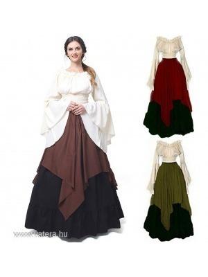 Női reneszánsz középkori retro gótikus jelmez ruha kerek nyakú hosszú ujjú  party ruha    lejárt 8c68f52a84