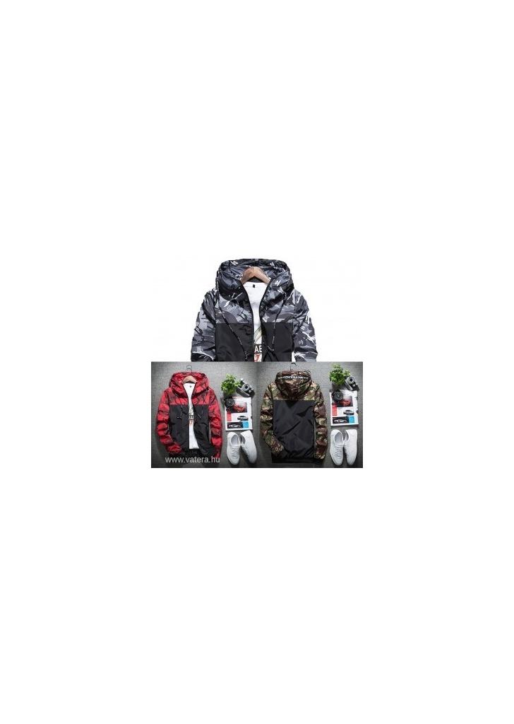 1 db férfi terepmintás kabát szürke piros zöld kapucnis dzseki cbb3e2462a