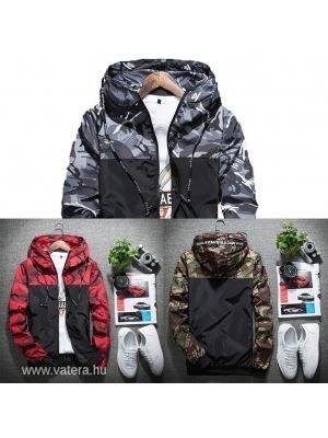 1 db férfi terepmintás kabát szürke piros zöld kapucnis dzseki széldzseki     lejárt 980095 f45a11452b