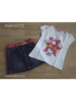 06235a851e Gyönyörű Hello Kitty felső+Tik&Tak farmer szoknya kislányra 110-116-os  Újszerű!