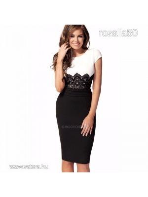 da86bb581a Új, csipkedíszes ruha fekete - fehér és piros - fekete / S - 3XL méretekben