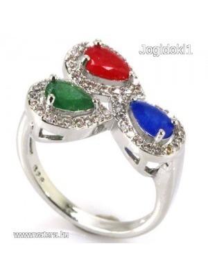 98e11f482 925 ezüst zafír rubin smaragd köves gyűrű - Vatera, 15 990 Ft