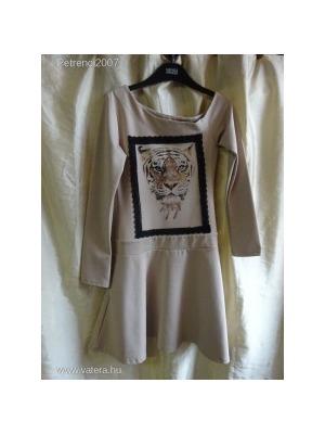92dc635724 MY77 gyönyörű, tigrises, bézs színű elegáns ruha S-es méretben- szreccses <
